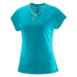 camiseta SALOMON ellipse u-neck turquesa