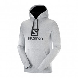 SALOMON LOGO HOODIE M LIGHT GREY LIGHT GREY HEATHER